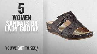 Top 5 Lady Godiva Women Sandals [2018]: Lady Godiva Laser Cut-Out Detail Open Toe Comfort Platform