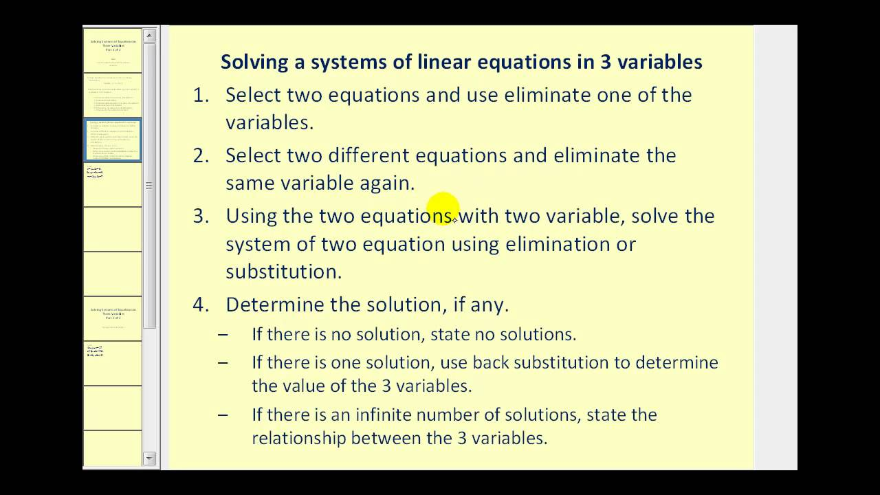 Systems of Equations in Three Variables: Part 1 of 2 - YouTube