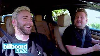 Adam Levine & James Corden Get Pulled Over by Cop in 'Carpool Karaoke' Preview | Billboard News