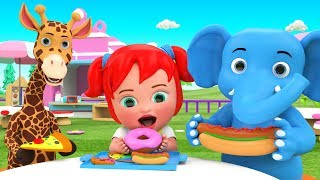 Little Baby Girl Fun Play Serving Snacks Pizza Burger to Elephant & Giraffe Cartoons for Kids Edu