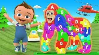 Little Baby Fun Learning Alphabet Songs Gorilla Alphabets A-Z Wooden Puzzle ToySet 3D Kids Education