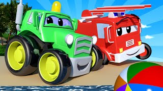 Baby Cars -  Beach Day at The Playground! - Car City ! Cars and Trucks Cartoon for kids