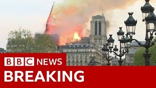 The moment Notre-Dame's spire fell - BBC News - YouTube