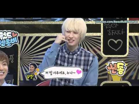 Eunhyuk imitate Sungmin how to talk a girl and manager on phone