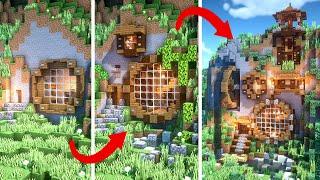 Survival Mountain House Minecraft Builds | BASIC vs INTERMEDIATE vs EXPERT