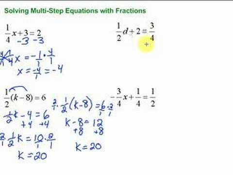 math worksheet : multi step equations with variables on both sides by shmoop  : Solving Equations With Fractions Worksheet