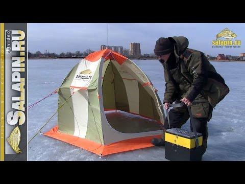 Установка и сборка зимней палатки в сильный ветер [salapinru]