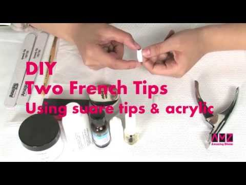 DIY Pretty french tip acrylic