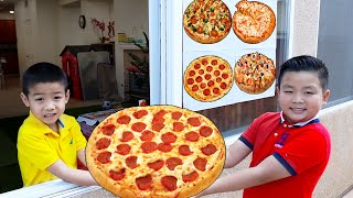 Alex and Eric Pretend Play Pizza Drive Thru Restaurant   Funny Food Toys Story for Kids