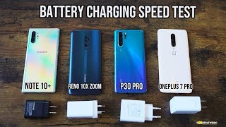 Galaxy Note 10+ vs Huawei P30 Pro vs OnePlus 7 Pro- Battery Charging Speed Test! SHOCKING!!!