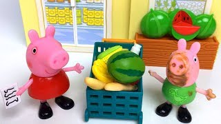 PEPPA PIG LITTLE GROCERY STORE MARKET WITH PEPPA FIGURINE SHOPPING LIST & SHOPPING CART - UNBOXING