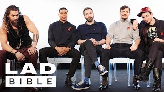 Justice League's Jason Momoa, Ben Affleck, Henry Cavill, Ezra Miller and Ray Fisher Jam Together