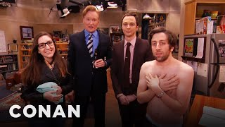"Jim Parsons & Conan Raid The ""Big Bang Theory"" Set With A Fan"