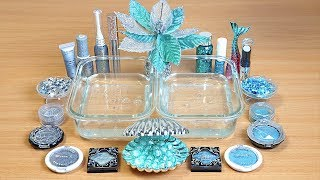 Slime Silver vs Teal Mixing makeup and Glitter into Clear Slime
