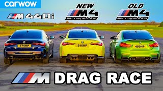 New BMW M4 v Old M4 v M440i - DRAG RACE