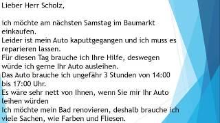 Deutsche Brief A1 A2 B1 Prüfung 21 Deutsch Lernen