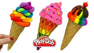 Пластилин Play Doh: Лепим Мороженое. Поделки из пластилина Плей До для детей. Play Doh Ice Cream