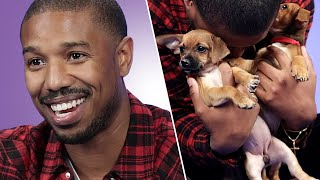 Michael B. Jordan Plays With Puppies While Answering Fan Questions