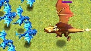 "E. DRAGONS x9 vs. GIANT GOLD DRAGON!! ""Clash Of Clans"""