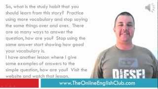 English Study Habit - A story for ESL students