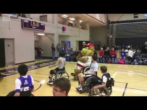Vancouver Canadians Mascot Bob Brown Bear Tries Wheelchair Basketball