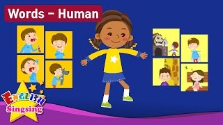 """Kids vocabulary Theme """"Human"""" - Action verbs, Body, Feel - Words Theme collection - Learn English"""