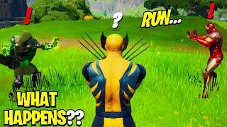 What Happens if ALL 3 Bosses Meet in Fortnite!   Boss Iron Man Meets Boss Wolverine & Boss Dr Doom!