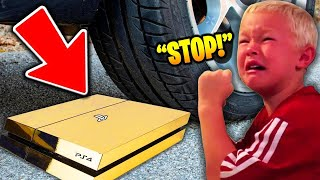 Psycho Dad CRUSHES PS4 with TRUCK! (Fortnite)