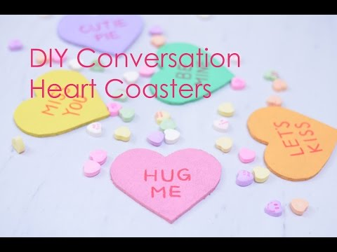 DIY Conversation Heart Coasters