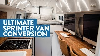 Self-converted Off-Grid Sprinter Van with Full Office, Bathroom, and Garage