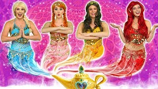 DISNEY PRINCESS GENIES! (What Happens to Ariel, Elsa, Belle, Jasmine, Rapunzel and Anna?)