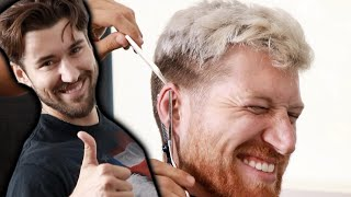 haircut guy jeff pretends to cut ear off (he doesn't though so don't worry)