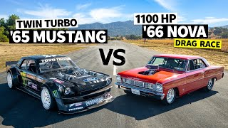 1100hp Chevy Nova Dragster, Big Block + Slicks Vs Ken Block's AWD Mustang // Hoonicorn Vs the World