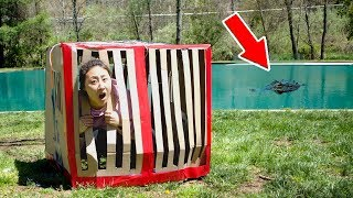 TRAPPED IN BOX FORT MONSTER CAGE (24 HOUR OVERNIGHT CHALLENGE)