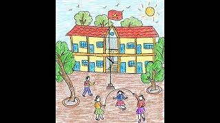 Dạy vẽ cho bé - Vẽ tranh trường em (painting my school)