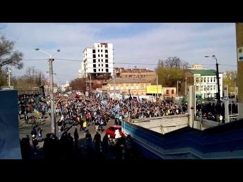 Хода перед матчем Днепр (Днепропетровск) - Динимо (Киев) 30.03.2014 г.