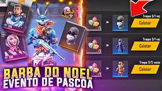 EVENTO DE PÁSCOA COM SKINS DE GRAÇA, BARBA DO NOEL VOLTOU, DINO ARCO-ÍRIS E MAIS!! FREE FIRE