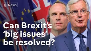 Raab and Barnier hold Brexit talks to resolve 'big issues'