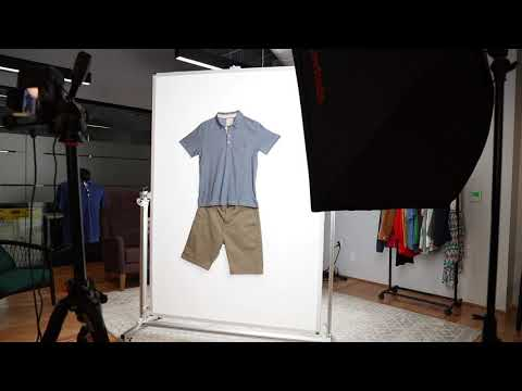 """Designed specifically for clothing photography, the Ortery StylePad makes it easy to stylize and photograph apparel in """"natural hanging"""", flat lay or """"angled lay"""" positions. Simply roll it into position, stylize and take great photos of clothing for eCommerce. It works with any camera and lights. The uniform background simplifies creating pictures of clothing on a pure white background. For best results, use a StylePad with Ortery LiveStudio lights and software to automate clothing photography."""