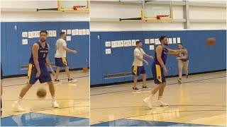 Klay Thompson's back at Warriors practice, throwing passes to his teammates