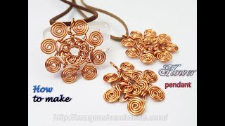 Flower pendant inspired by Egyptian Coil from copper wire  480