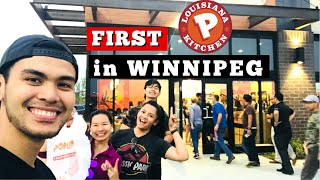 Lined up for TWO hours for Popeyes Louisiana Kitchen | Winnipeg Grand Opening