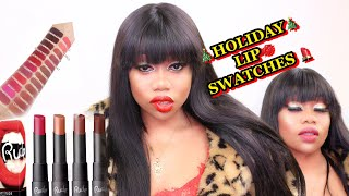 RUDE  COSMETICS |  HOLIDAY LIP SWATCHES | FIRST IMPRESSIONS | Tokslabossmua #woc #Rudecosmetics