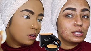 Full Coverage Powder Foundation Routine For Acne  - Review | Demo