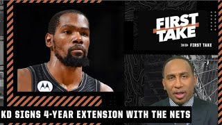 Stephen A. reacts to Kevin Durant signing a 4-year/$198M extension with the Nets | First Take