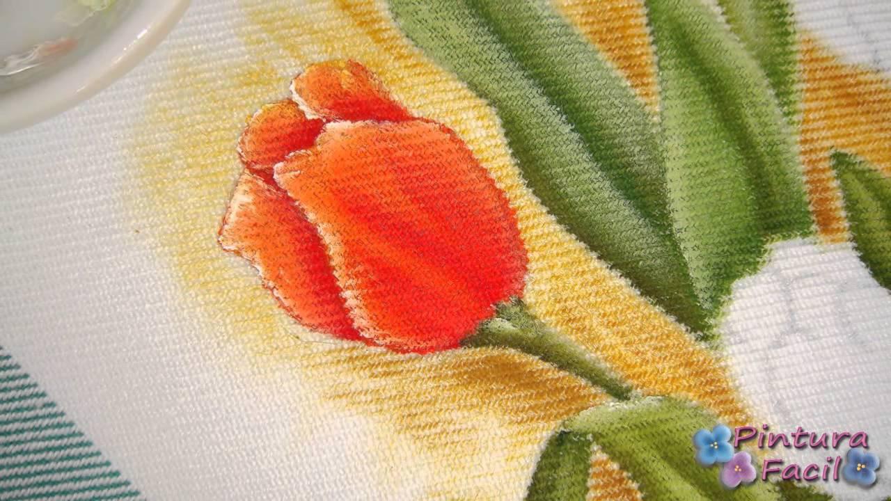 como pintar en tela tulipanes paint fabric tulips