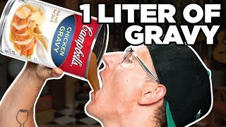 Chugging A Whole Liter of Gravy (World Record) | FOOD FEATS