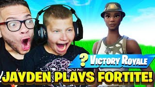 MY LITTLE BROTHER JAYDEN PLAYS FORTNITE FOR THE FIRST TIME AFTER GETTING BETTER! HE RAGE QUIT! EPIC