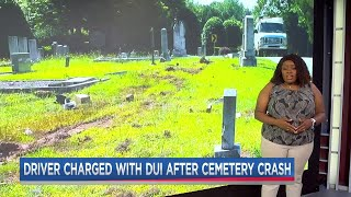 Drunk driver smashes through headstones at cemetary