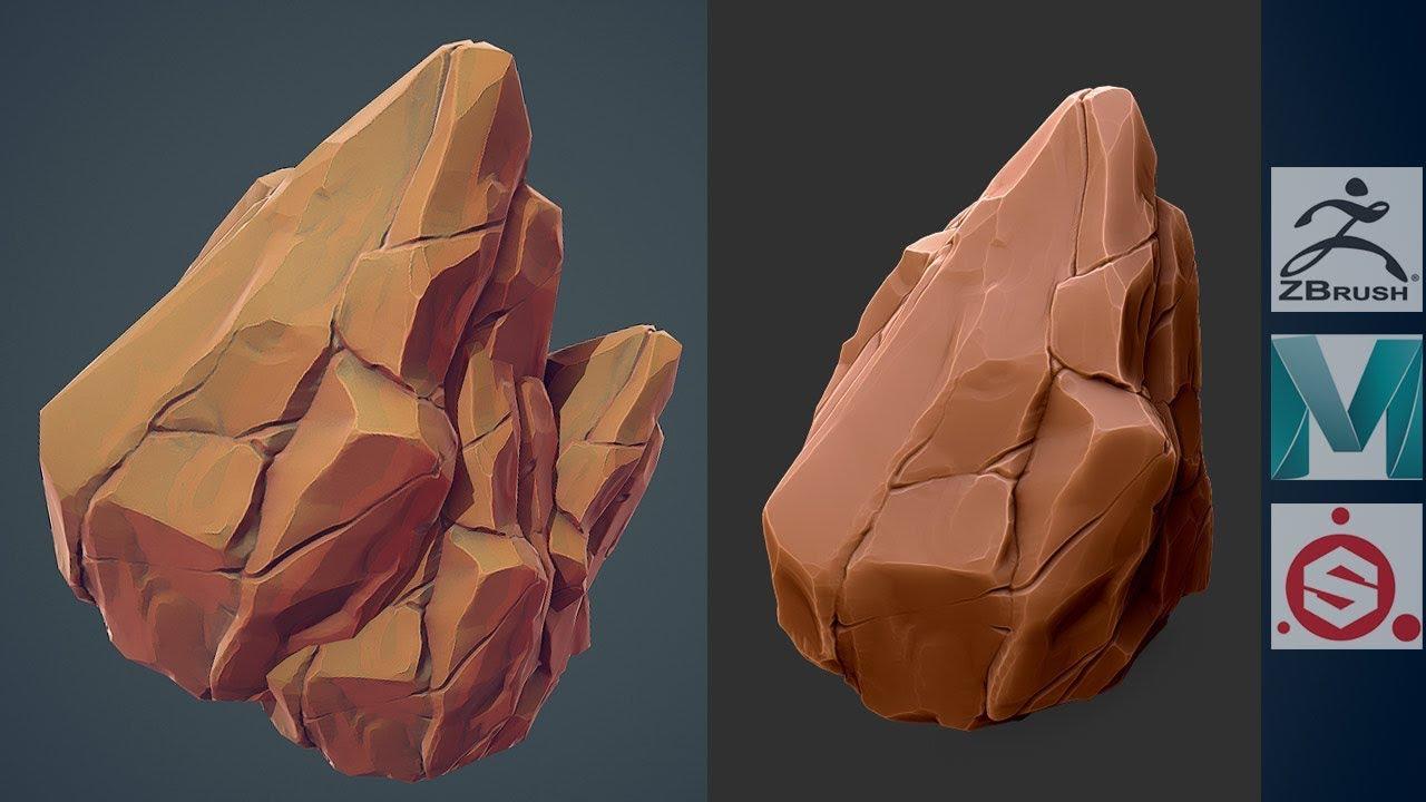 Zbrush 2019 , Maya 2019 , Painter - Stylized Rocks